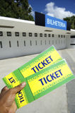 Soccer Fan Holds Two Brazil Tickets at the Stadium Royalty Free Stock Photography