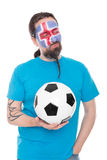 Soccer fan from Iceland with a Football in his hand Stock Photo