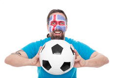 Soccer fan from the icelandic national team is happy Royalty Free Stock Images