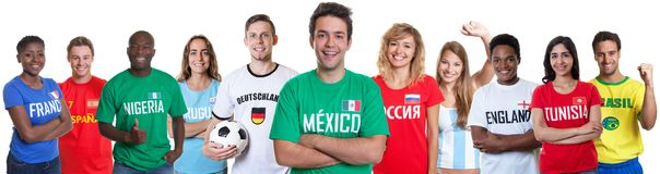 Soccer fan from Mexico with fans from other countries royalty free stock photography