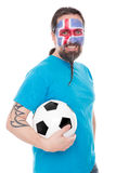 Soccer fan from the national team of iceland, isolated on white Royalty Free Stock Photo