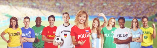 Soccer fan from Russia with supporters from other countries Stock Photo