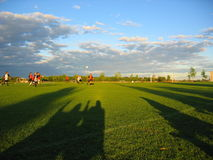Soccer Fan Shadows. Soccer game spectators are seen as shadows Stock Image