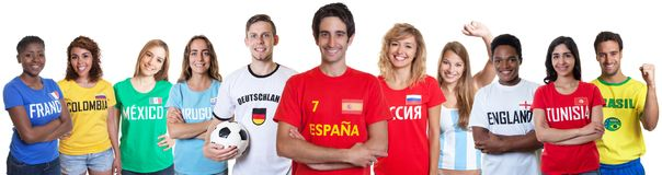Soccer fan from Spain with fans from other countries Royalty Free Stock Images