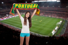 Soccer fan with the stadium on the back stock photo