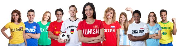 Soccer fan from Tunisia with supporters from other countries Royalty Free Stock Images