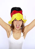 Soccer Fan Woman Wearing A Hat Royalty Free Stock Image