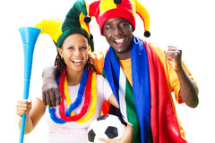 Soccer fans. Cheerful south african soccer fans, isolated on white royalty free stock photography