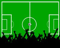 Soccer fans. Illustration of cheering soccer fans, green pitch in the background Royalty Free Stock Photography