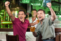 Soccer fans at the bar. Two happy football fans cheering at bar Stock Images