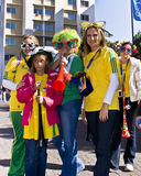 Soccer Fans Celebrate in Sandton CBD. Football frenzy at Bafana celebration Stock Image