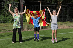 Soccer fans cheering Royalty Free Stock Photo