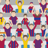 Soccer Fans Cheering In The Stands Of The Stadium. Color Vector Illustration Stock Image