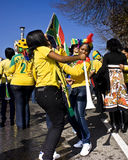 Soccer Fans Dancing in the Street. Football frenzy at Bafana celebration Royalty Free Stock Photography