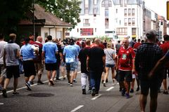 Soccer fans in Kaiserslautern. Kaiserslautern, Germany - July 28, 2018: Fans of the soccer club 1. FC Kaiserslautern and TSV 1860 Munich after a match of the 3 Stock Photos
