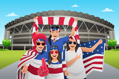 Soccer Fans Outside of the Stadium Stock Photography
