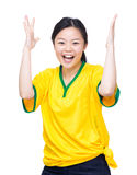 Soccer fans raise up hand for celebration. Isolated on white Royalty Free Stock Images