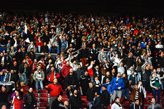 Soccer fans in a stadium Royalty Free Stock Photos