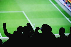 Soccer fans stadium photographing Stock Photo