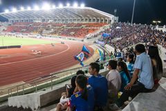 The soccer fans in the 700th Anniversary Stadium Stock Images