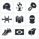Soccer fans ultras icon collection Royalty Free Stock Photos