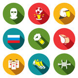 Soccer fans ultras Icons set Stock Photos