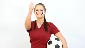Soccer Female with French Flag stock footage