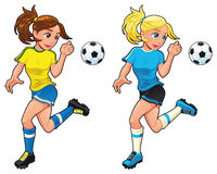 Soccer female players. Vector cartoon and isolated sport characters Stock Photography