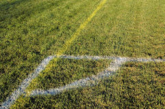 Soccer Field. Corner Boundary of Soccer Field Stock Photo