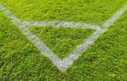 Soccer field. White lines marking the corner of a soccer field Royalty Free Stock Photography