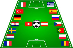 Soccer field with 16 flags. Euro 2008 Royalty Free Stock Image