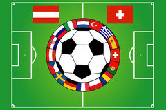 Soccer field with 16 flags Stock Image