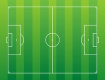 Soccer field. Green soccer field with white marking Stock Photos