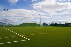 Soccer field. A empty soccer field on a cloudy day Stock Photography