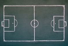 Soccer field. Image of soccer field on the school chalkboard to drawing strategy Stock Photo
