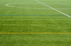 Soccer field. Dividing lines on an empty soccer field royalty free stock photography