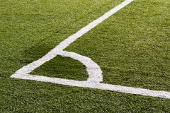 Soccer field. The corner boundary line of a soccer field royalty free stock photo