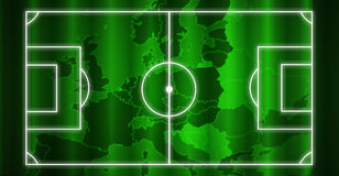Soccer field. With white lines europe green map background Royalty Free Stock Image