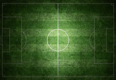 Soccer field. With white lines on grass on grunge paper Royalty Free Stock Photo