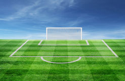 Soccer field. Green Soccer field and blue sky Royalty Free Stock Photos