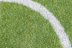 Soccer Field. Very Detailed Synthetic Grass Texture With Corner White Line Royalty Free Stock Photography