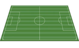Soccer field. A perspective view of a soccer field or a football field with field markings and grass stripes Royalty Free Stock Photo