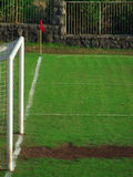 Soccer field. Goal and flag on soccer field stock photos
