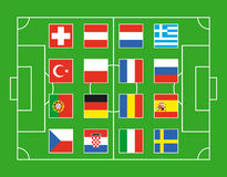 Soccer field. With flags of European countries Stock Photography