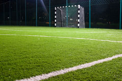 Soccer field. With green grass in the night Royalty Free Stock Photo