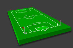 Soccer field. 3D  illustration of a soccer / football field with red corner flags Stock Photography