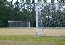 Soccer Field. Goals on an empty soccer field Royalty Free Stock Photography