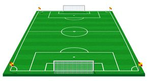 Soccer field. 3d illustration of soccer field isolated on white Royalty Free Stock Image