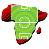 Soccer field on Africa. Royalty Free Stock Images