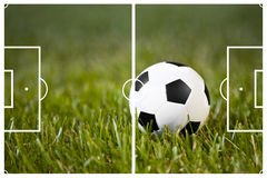 Soccer Field And A Classic Ball Royalty Free Stock Photography